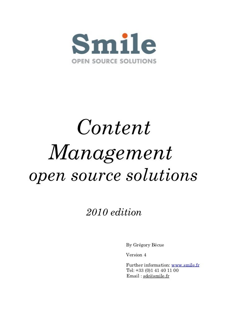 Content  Managementopen source solutions       2010 edition               By Grégory Bécue               Version 4        ...