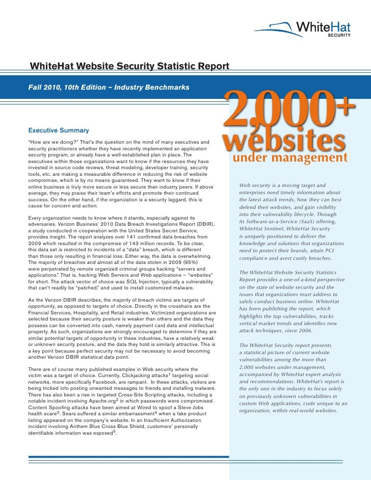 Website Security Statistics Report (2010) - Industry Bechmarks (Full Report)