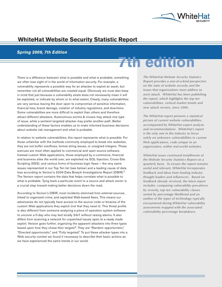 WhiteHat Website Security Statistic Report  Spring 2009, 7th Edition                                                      ...
