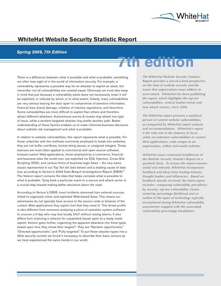 """WhiteHat Security """"Website Security Statistics Report"""" FULL (Q1'09)"""