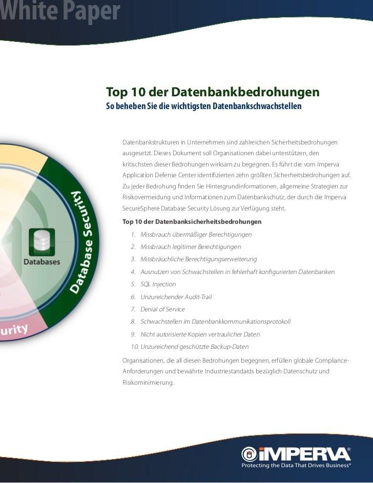 White Paper         Top 10 der Datenbankbedrohungen         So beheben Sie die wichtigsten Datenbankschwachstellen        ...