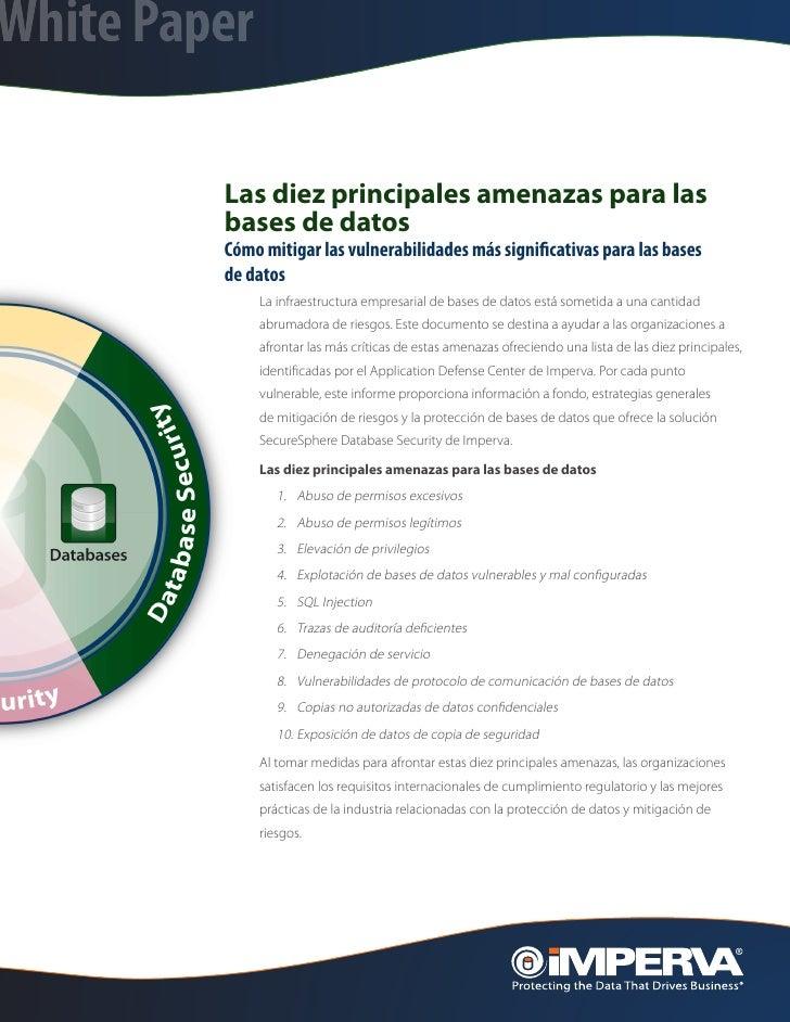 White Paper         Las diez principales amenazas para las         bases de datos         Cómo mitigar las vulnerabilidade...