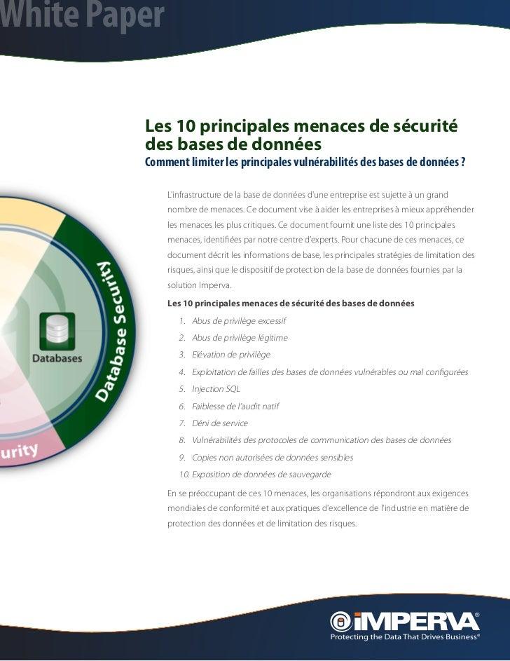 White Paper         Les 10 principales menaces de sécurité         des bases de données         Comment limiter les princi...