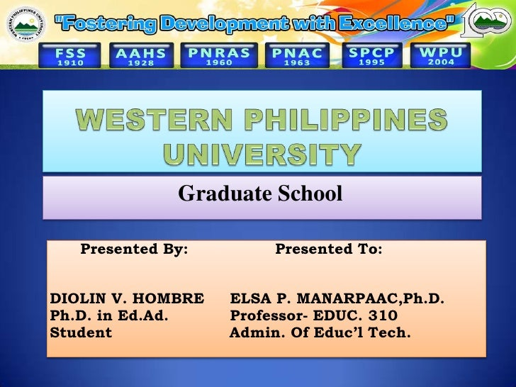 WESTERN PHILIPPINES UNIVERSITY<br />Graduate School<br />      PresentedBy:                 Presented To:                 ...