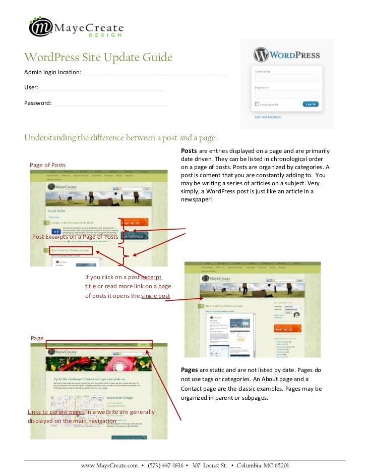 WordPress Site Update Guide Admin login location: ____________________________________________ User: _____________________...