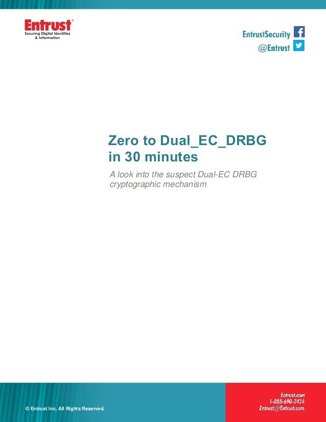 Zero to Dual_EC_DRBG in 30 minutes A look into the suspect Dual-EC DRBG cryptographic mechanism  © Entrust Inc. All Rights...