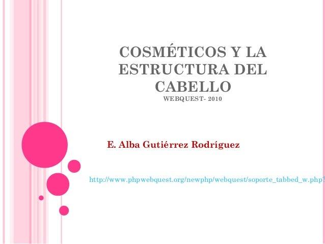 COSMÉTICOS Y LA ESTRUCTURA DEL CABELLO WEBQUEST- 2010 E. Alba Gutiérrez Rodríguez http://www.phpwebquest.org/newphp/webque...