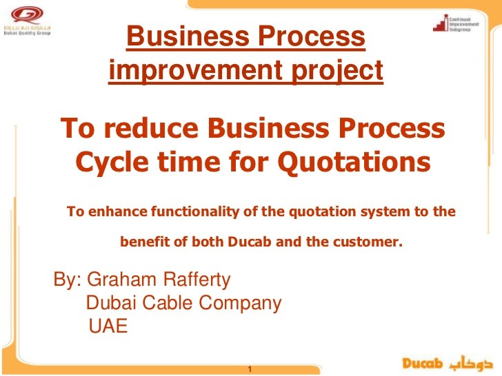 Business Process      improvement projectTo reduce Business Process Cycle time for Quotations To enhance functionality of ...