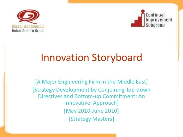 Innovation Storyboard [A Major Engineering Firm in the Middle East][Strategy Development by Conjoining Top-down  Directive...