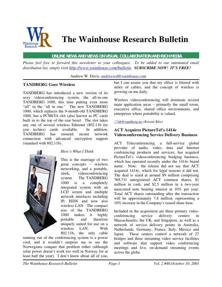 WR Bulletin Vol 2 Issue #40 10-Oct-01