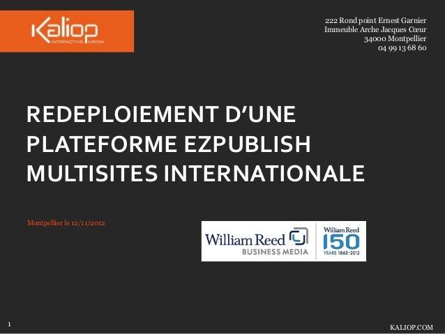 Redeploiement d'une plateforme eZpublish multisites internationale