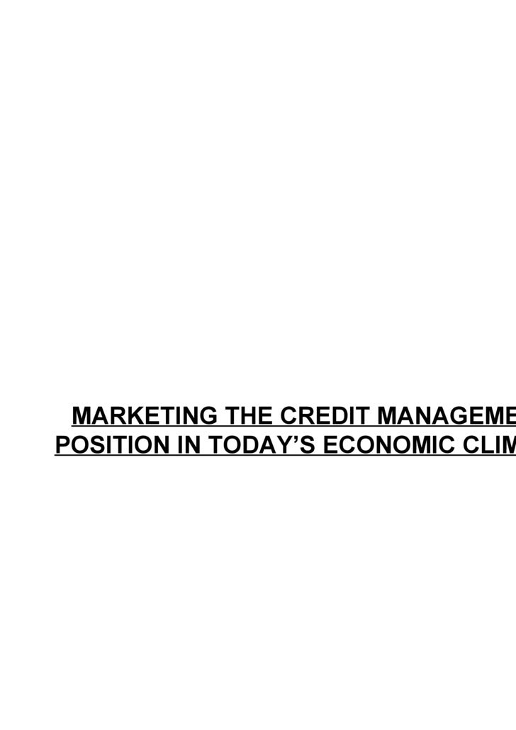Marketing the Credit Management Position