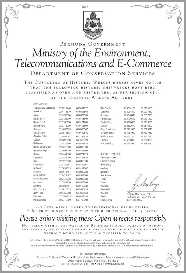 Ministry of the Environment, Telecommunications and E-Commerce Please enjoy visiting these Open wrecks responsibly Th e C ...