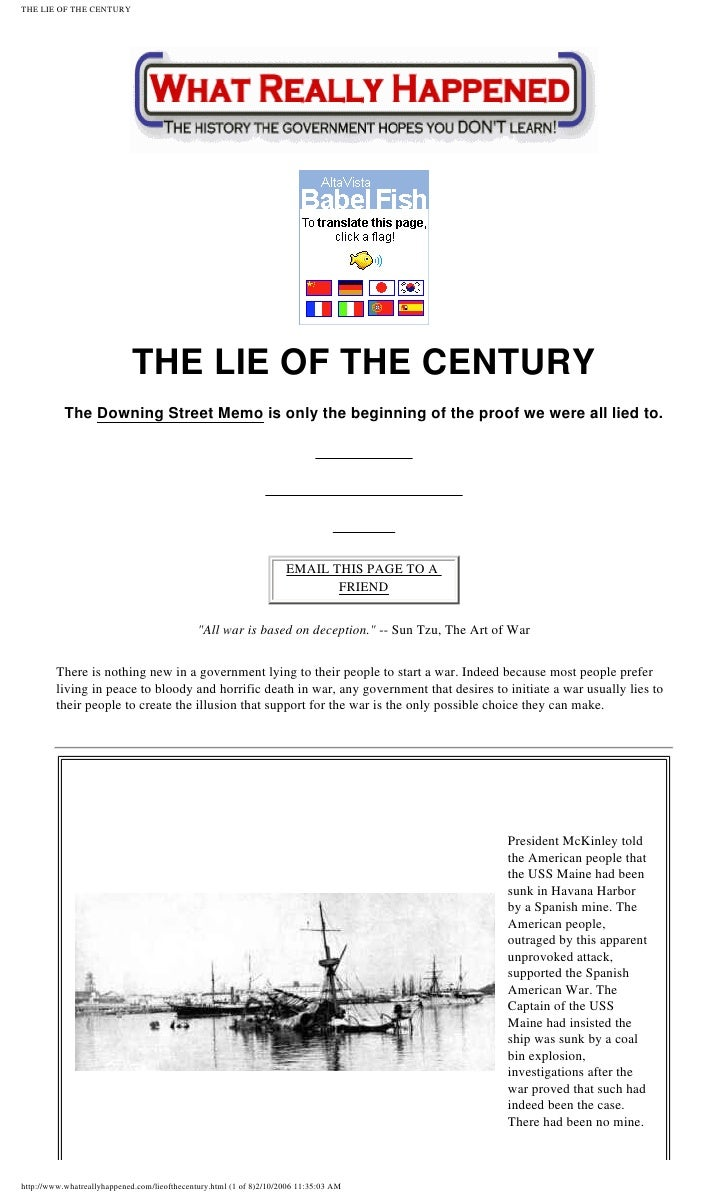 THE LIE OF THE CENTURY                                  THE LIE OF THE CENTURY            The Downing Street Memo is only ...