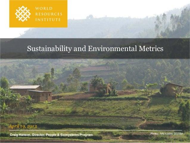 Sustainability and Environmental Metrics