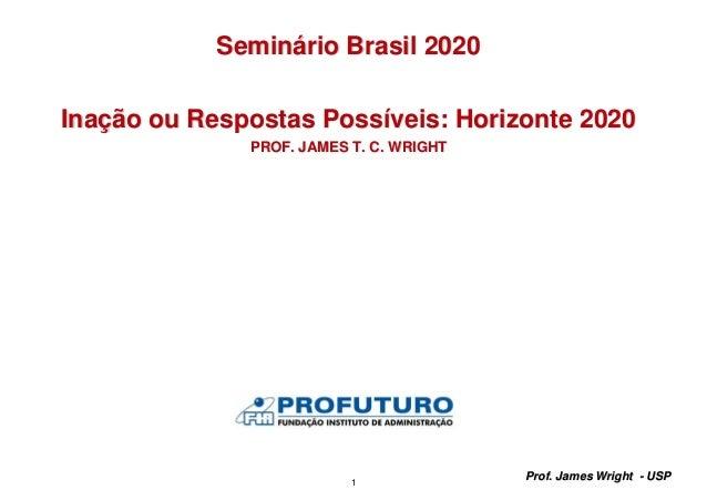 1 Prof. James Wright - USP Seminário Brasil 2020 Inação ou Respostas Possíveis: Horizonte 2020 PROF. JAMES T. C. WRIGHT
