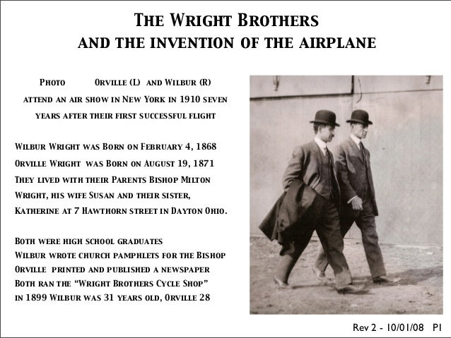 The Wright Brothers              and the invention of the airplane     Photo        Orville (L) and Wilbur (R) attend an a...