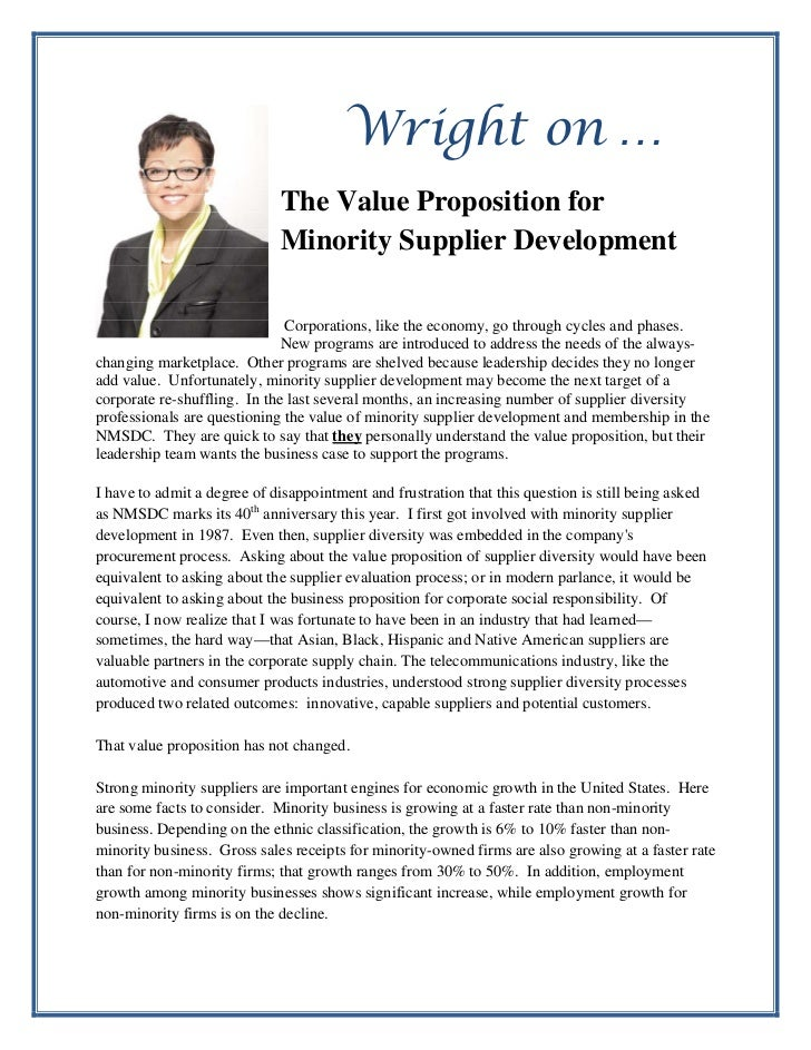 Wright on …                             The Value Proposition for                             Minority Supplier Developmen...