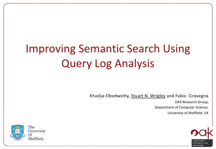 Improving Semantic Search Using      Query Log Analysis            Khadija Elbedweihy, Stuart N. Wrigley and Fabio Ciraveg...