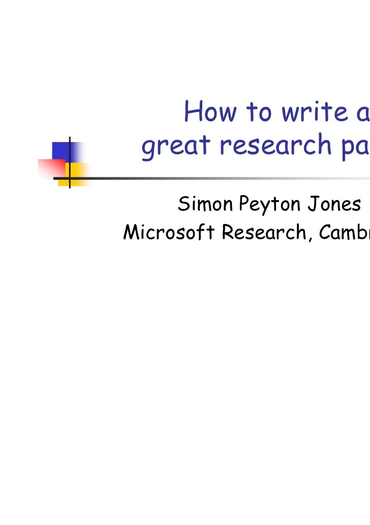 How to write a proper research paper