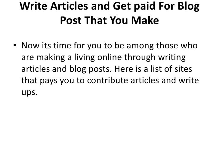 Pay To Write Education Article