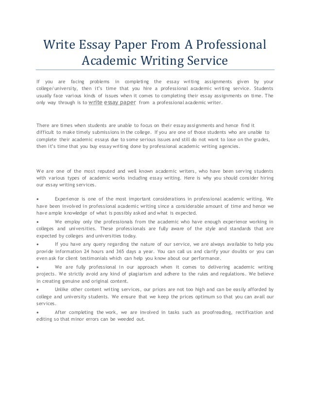 Write a college paper services
