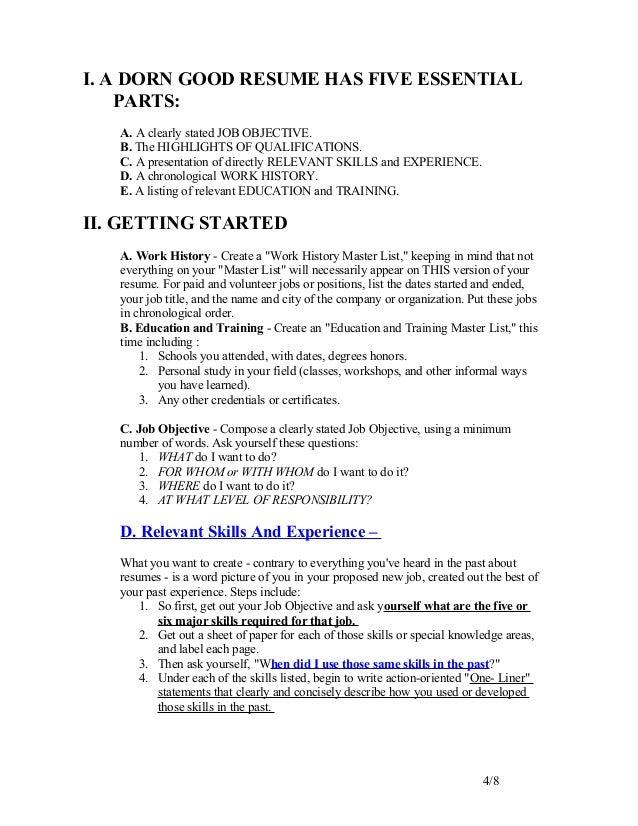 Write good resume trunk