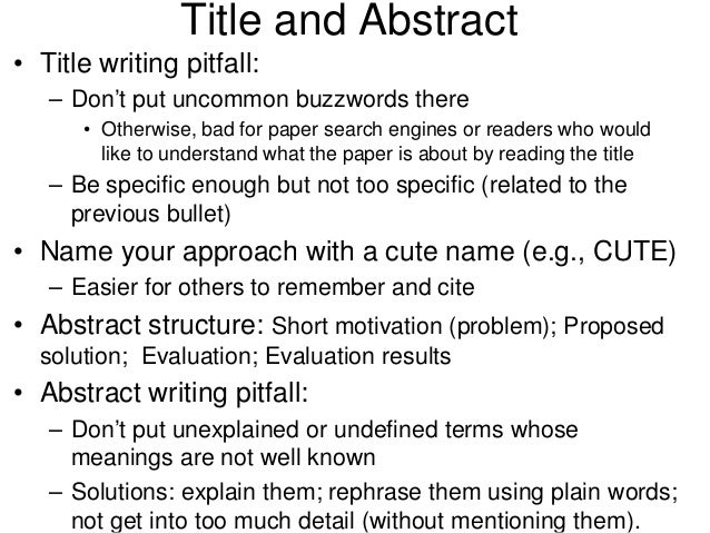 Writing an abstract for research paper