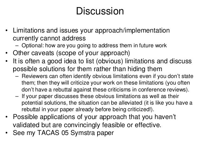 Assumptions and limitations dissertation