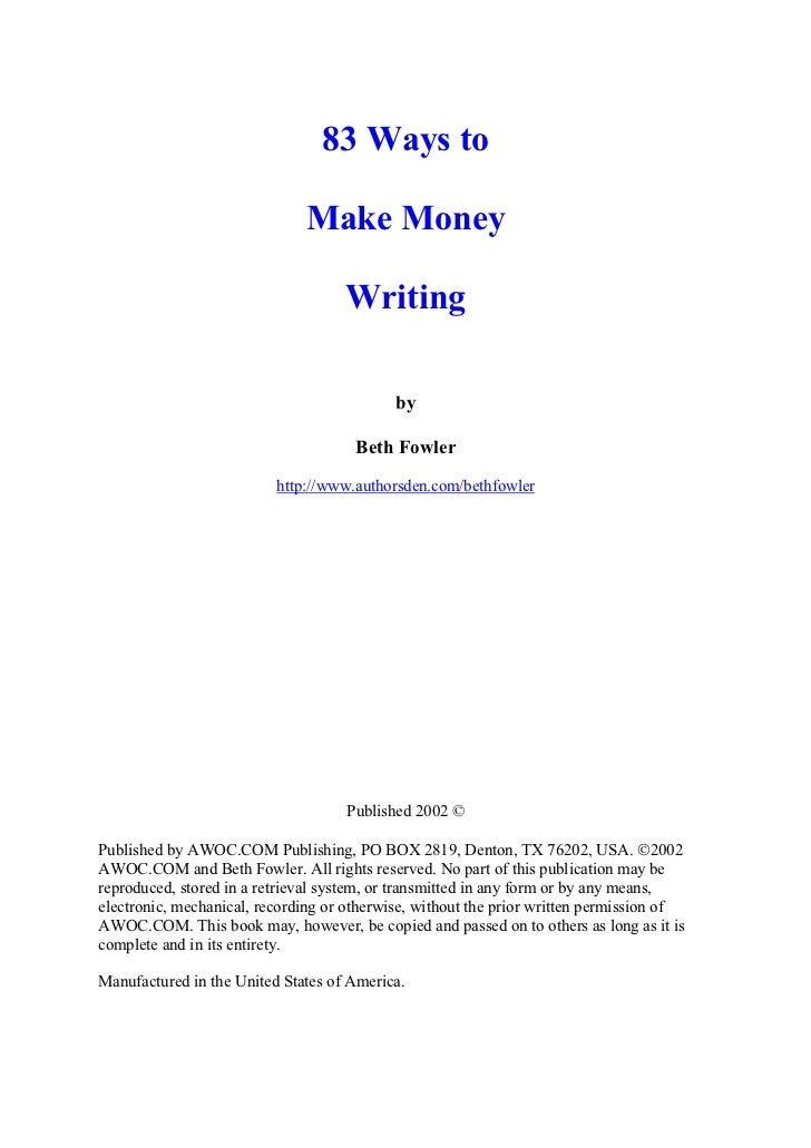 83 Ways to                              Make Money                                    Writing                             ...