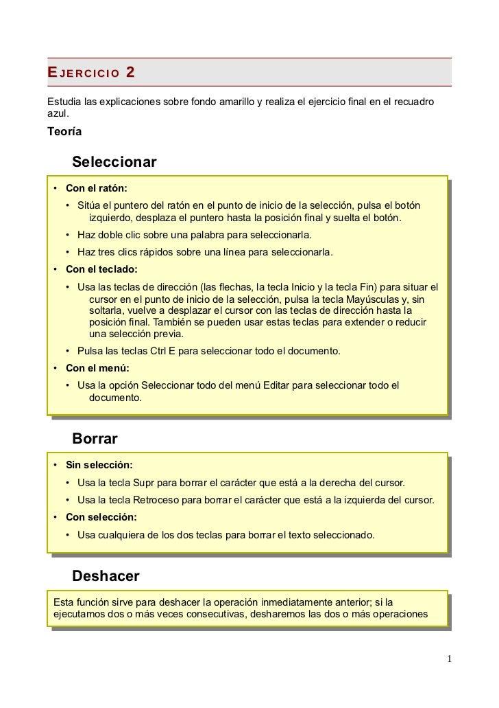 EJERCICIO 2Estudia las explicaciones sobre fondo amarillo y realiza el ejercicio final en el recuadroazul.Teoría     Selec...