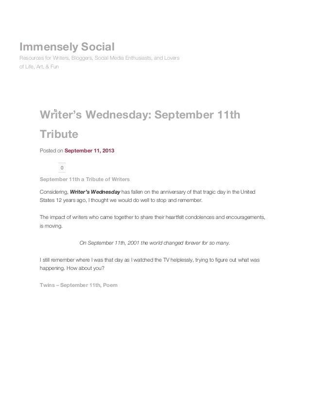 Writer's wednesday: september 11th tribute immensely social