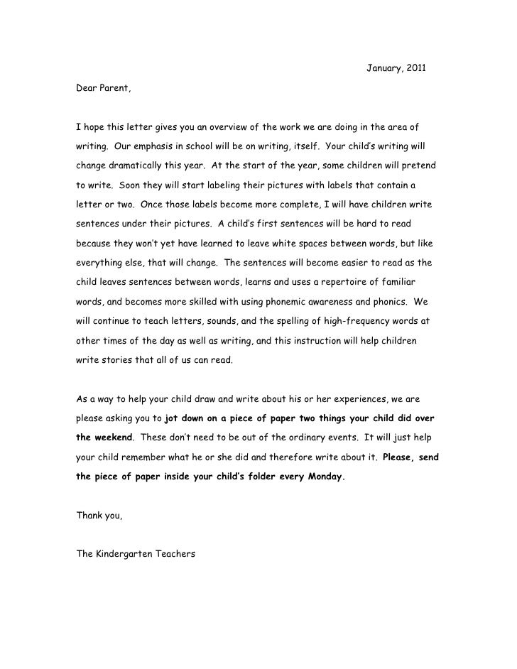 Parents Letter To Class About Child