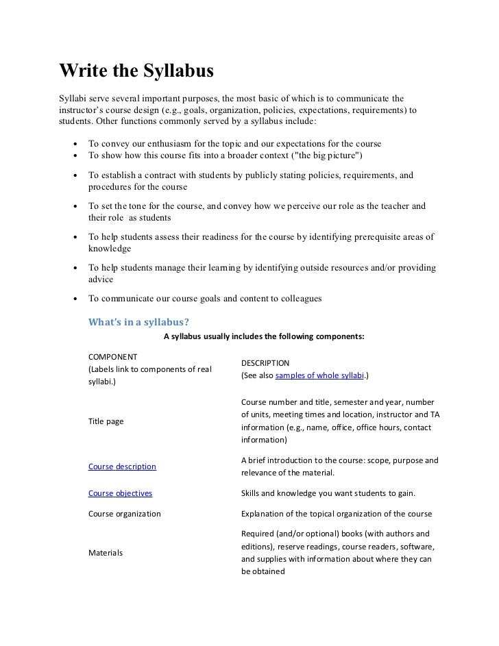 Write the SyllabusSyllabi serve several important purposes, the most basic of which is to communicate theinstructor's cour...