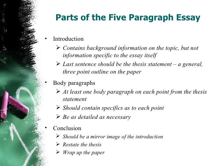 Write a five paragraph essay