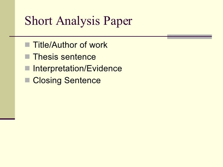 Title for a analytical essay?