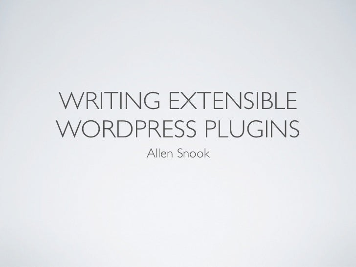 Writing extensible Word press-plugins