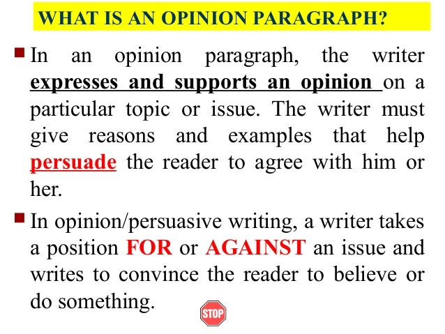 What is the opinion in a essay