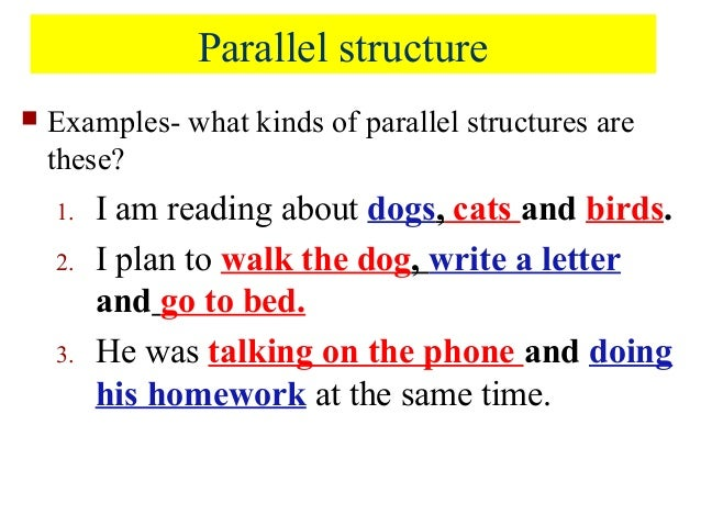 essays using parallelism Parallelism can be as simple as choosing grammatically similar elements when writing a list, as in first do x, second do y, third do z  songwriters use .