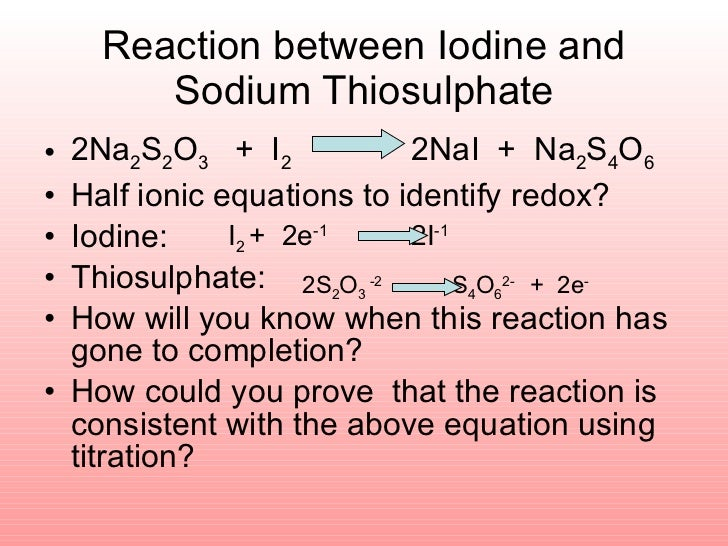 lab report redox reaction using sodium thiosulpahte solution Reaction of sodium thiosulphate and hydrochloric acid[1] the reaction sodium thiosulphate organic chemistry- esters lab & lab report.