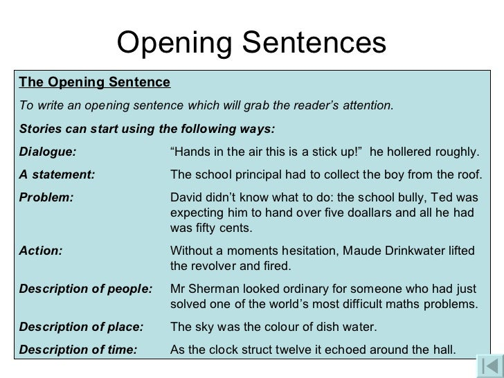 Good starting sentences for college essay