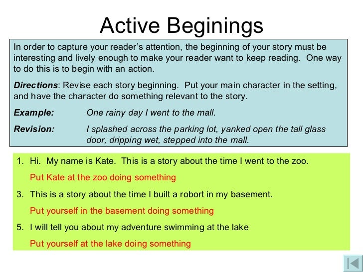 Essay Write A Story Beginning With