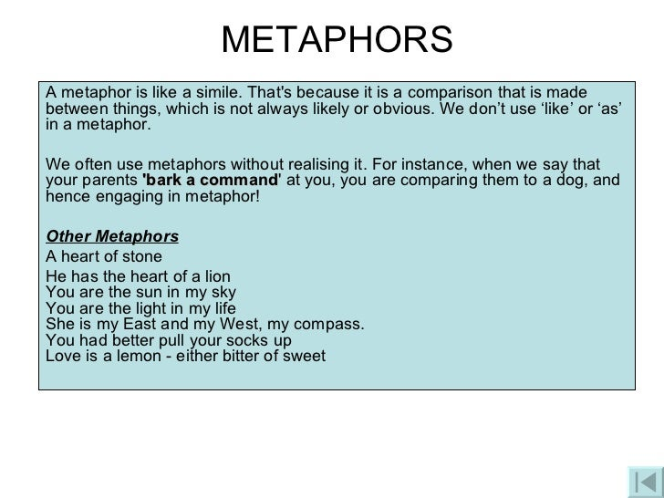 How to write a metaphor sentence