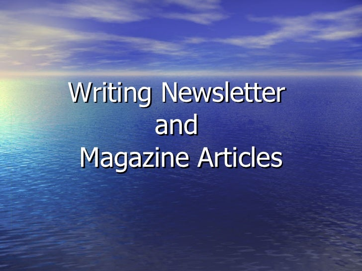 Writing articles for magazines