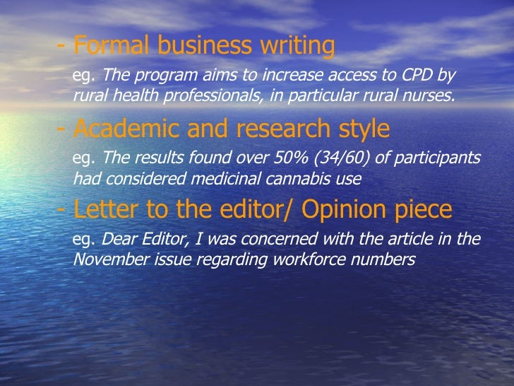 Writing business articles