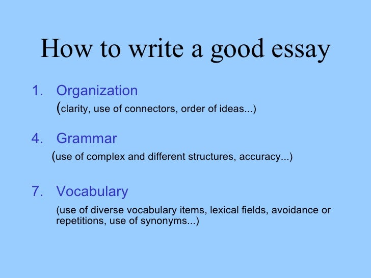 rules for writing a essay