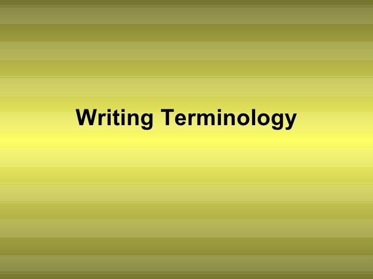 Writing Terminology