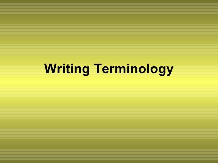 Writing Terminology