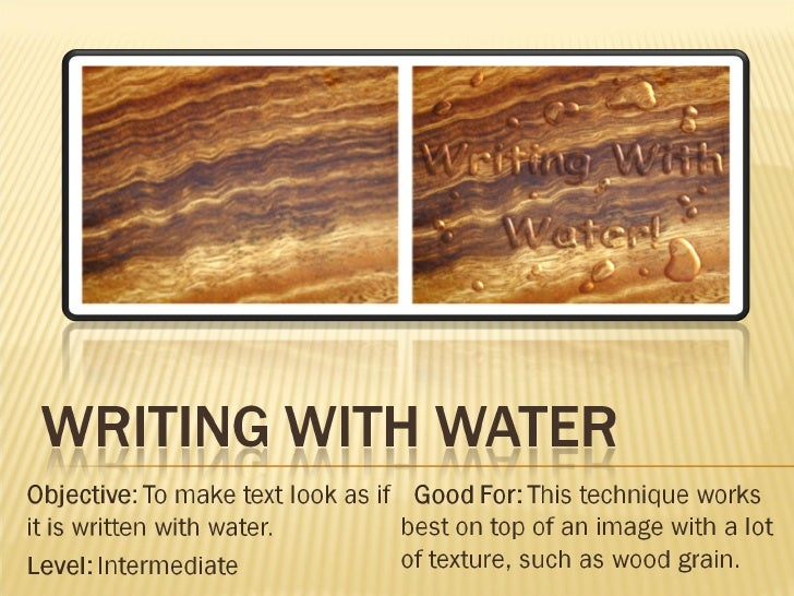 Writing With Water