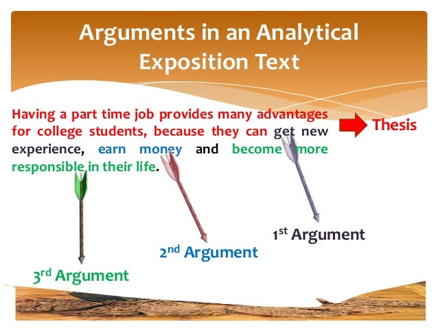 analytical exposition thesis argument Argument in the analytical exposition is as important as giving conflict in narrative text the series of arguments will make the writer's opinion stronger restating the writer's opinion (thesis) , summary/conclusion of what has been stated before in the previous paragraphs.